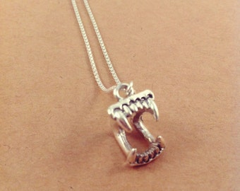 Fangbanger Charm Necklace on .999 Fine Sterling Silver Chain, Lead and Nickel Free, Free US Shipping.
