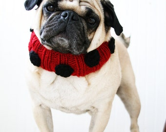 Lovely Ladybug Knit Dog Collar - Dog Scarf - Dog NeckWarmer - Dog Clothes