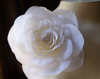 Silk Rose Camellia in Ivory for Bridal, Sashes, Millinery Hats, Corsages MF 127iv