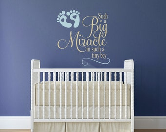 Vinyl Wall Art, Such a Big Miracle in such a tiny boy decal, Nursery decor for little boy's room with footprints