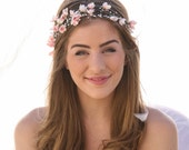 Wedding Flower Crown of Pink Flowers and Pearl Spray Boho Wedding Floral Halo Wreath Ribbon Tie Bridal headband Woodland Wedding Headpiece
