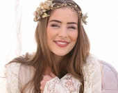 Gold Wedding Woodland Flower Headband with Gold Flowers and Ribbon Ties, Flower Crown, Boheimian Festival Hair Accessory Golden Wedding Hair