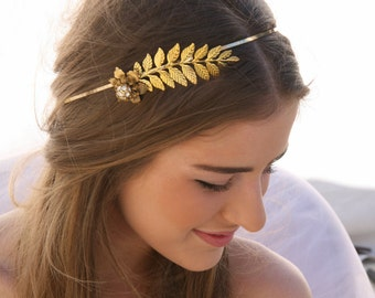 Grecian Gold Metal Leaf and Flower Headband with Rhinestones Gold Wedding Headpiece, Metal Headband for Adults, Leaf Hair Accessory