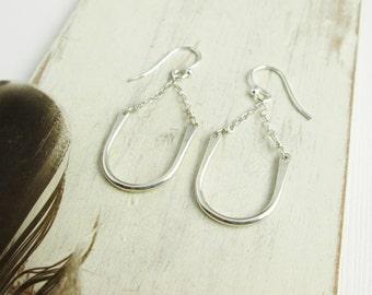 Suspended Arch Earrings. Bright Sterling Silver. Sterling Silver. Modern. Simple Hooks. Small Dangles.  Metal Earrings. Minimal. Modern.