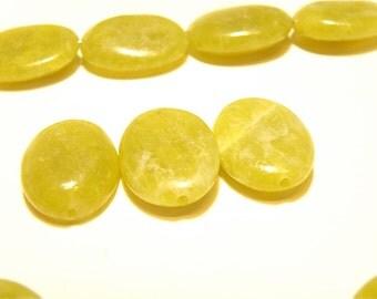 70% OFF --- 16 Flat Oval Beads: Olive Jade Serpentine?? - Lot UU
