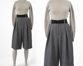Vintage Tweed Knickers: Guy Laroche Paris Designer 80s Gray Wool Cropped Pants, Belted Trousers, Made in France, Annie Hall