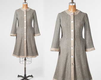 Vintage 1940s Princess Coat, Gray Wool Coat, 40s Fitted Coat, WWII Handmade Coat, Smokey MOP Buttons, Size Small Medium, Fit and Flare