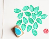 wedding leaf hand carved rubber stamp. wedding guestbook stamp. woodland stamp. scrapbooking. gift wrapping. spring crafts. mounted. no4