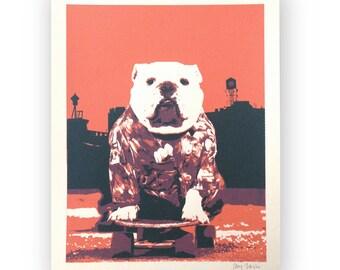 Bulldog Art Print, Silkscreen Poster, Kids Art, Skateboarding Bulldog in Brooklyn, Wall Art