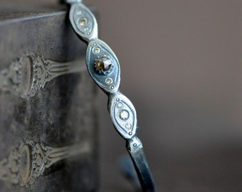 wrought sterling silver cuff bracelet with rose cut brown and Champagne brilliant diamonds, forged, one of a kind, eco friendly jewelry