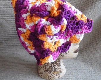 Cute Pixie Hat Cotton Hat with Flower, Batik Pixie Shell Hat