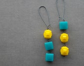 pixels - earrings - vintage lucite and sterling