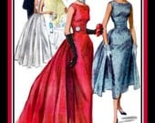 Vintage 1955-HOLLYWOOD GLAMOUR GOWN-Cocktail Dress-Sewing Pattern-Elegant Wiggle Dress-Gathered Fan Tail Back Panel-Ruched Belt-Size 14-Rare