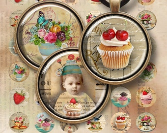 1 inch (25mm) and 1.5 inch circle images SWEET AFTERNOON Digital Collage Sheet Printable Download for pendants bottle caps bezel cabs cameos
