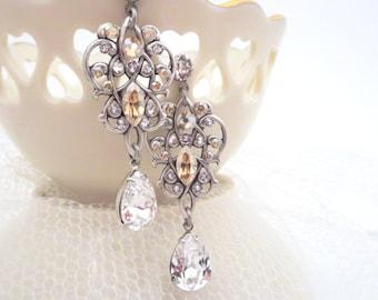 Bridal earrings, Crystal Wedding earrings, Bridal jewelry, Swarovski earrings, Vintage style earrings, Chandelier earrings, Rhinestone