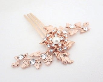 Rose Gold Bridal hair comb, Wedding headpiece, Crystal hair comb, Leaf hair comb, Rose Gold Wedding Hair accessory, Vintage style hair comb