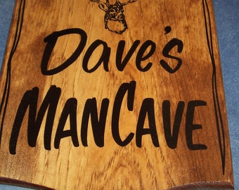 Personalized ManCave Sign with Name! Custom Made and Handlettered with your message.