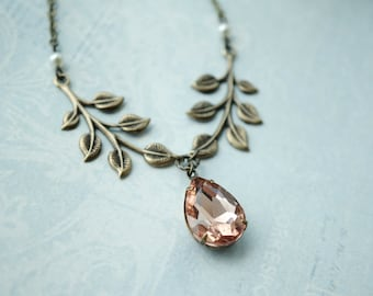 Peach Champagne Pear Glass, Brass Leaves Necklace, Leaf Ivory Pearls Leaf Necklace. Romantic Elegant, Peach Wedding Bridal, Bridesmaids Gift