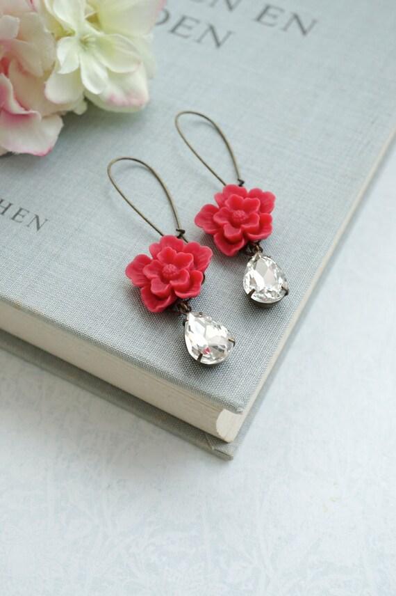 Red Flowers Earrings.  Red Sakura Flower, Vintage Crystal Rhinestones Glass Dangle Earrings. Red Wedding Bridal. Bridesmaid Gifts Earrings.