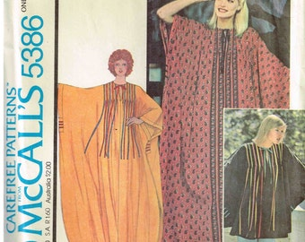 Pullover Caftan Dress or top McCalls 5386  Sewing Patten Tent Muumuu Vintage 1970s Bust Plus Size 31.5 32 34 36 38 40 42 44 46 48