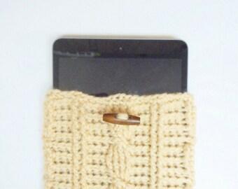 Cable Stitch iPad Mini or e-Reader Cozy in Beige, ready to ship.
