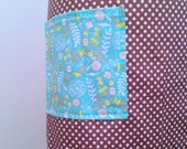 Brown Polka Dot and Teal Floral Full Apron