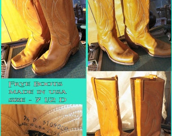 Frye Boots, vintage 1970s, size 7 -1/2D , square toe, stack heel, black label,  made in USA, 1970s leather footwear