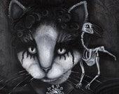 Gothic Cat Art, Creepy Cat and Dead Raven Skeleton, Black and White 8x10 Fine Art Print
