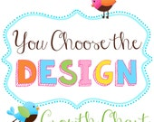 Canvas Growth Chart - YOU CHOOSE the DESIGN Kids Bedroom Baby Nursery Bedroom Wall Art