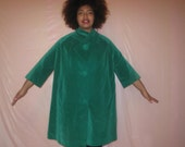 60s vintage green velvet dress coat