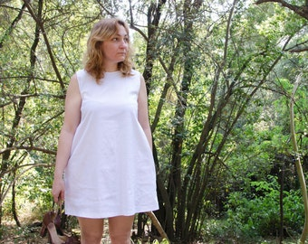 White Mini Dress with Scoop Back, Cotton Summer Dress with Pockets