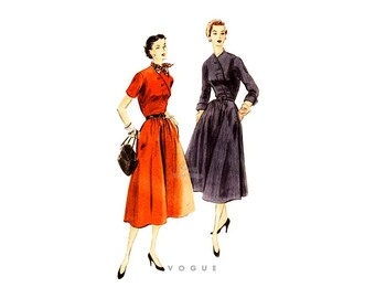 1950s Dress Pattern Vogue 7901, Asymmetrical Dress with Pockets, Circular Skirt, Short or 3/4 Sleeves, Bust 32 Uncut FF Town & Country