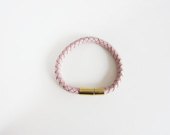 Blush Braided Leather Single Wrap Bangle