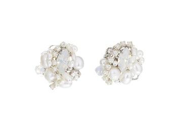 Wedding Earrings , Bridal Earrings ,Opal Earrings , Pearl Earrings ,Swarovski Earrings ,Crystal Earrings ,Delicate Earrings , Bridal Jewelry