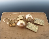 Bronze Metal Clay Patterned Square/Rectangle and Large Freshwater Baroque Pearl Earrings