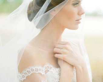 BLAIR | bridal drop veil, fingertip wedding veil in ivory or white, wedding veil with blusher