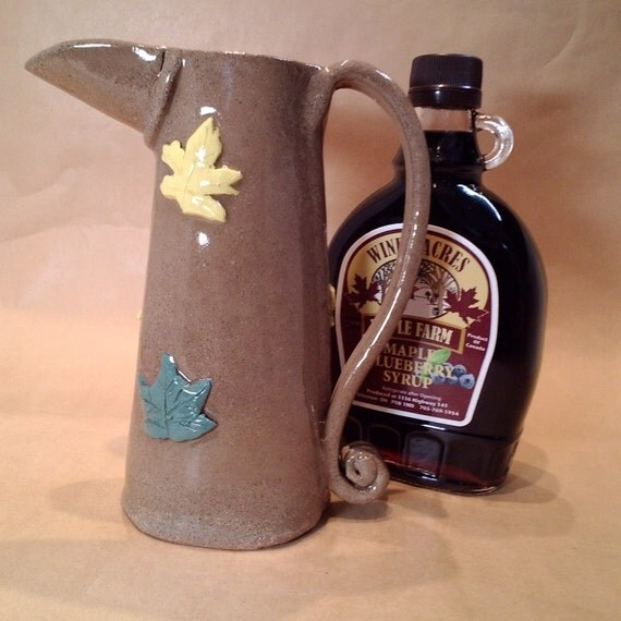 Pottery Pitcher With Maple Leaves Milk Jug Warm Syrup