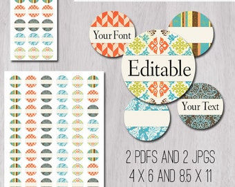 """Colorful Vintage Patterns Editable PDFs and JPGs 1 Inch 25mm Circle Bottle Cap Image 1"""" in 4x6 and 8.5x11 Digital Collage Sheet"""