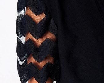 The Vintage Sheer Back Zig Zag Cropped Black Jacket
