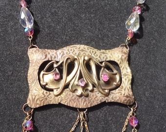 Vintage Art Nouveau Necklace--Pink Tourmaline