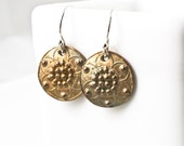 Bronze Stylized Sand Dollar Earrings - Artisan Made From Vintage Button - Granulated Bronze Etruscan Inspired Earrings