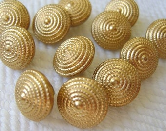 12 Tiny Vintage Buttons - Concentric Metal Circles Perfect for Baby or Doll Clothes