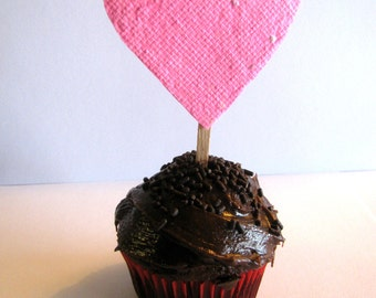 Valentine's Day seed paper cupcake topper, wedding cupcake topper, birthday party favors