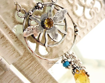 Citrine Jewelry Bee Necklace Turquoise Sterling Silver Gemstone Necklace Bumblebee jewelry
