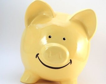 Smiley Piggy Bank - Cute Personalized Piggy Bank - Smiley Face Bank - Happy Piggy Bank - with hole or NO hole in bottom - Made in the USA