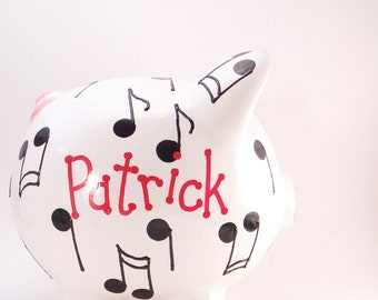Music Note Piggy Bank - Personalized Piggy Bank - Ceramic Piggy Bank - Notable Piggy Bank - Musical Bank - with hole or NO hole in bottom