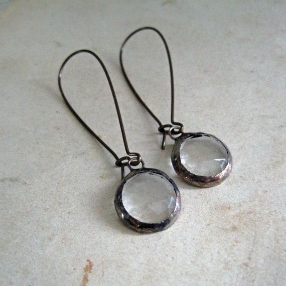 Faceted Glass Earrings Clear Jewelry