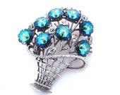 Sapphire Blue Rivoli Brooch Bouquet, Flower Basket Peacock Blue Vintage Rhinestone Jewelry