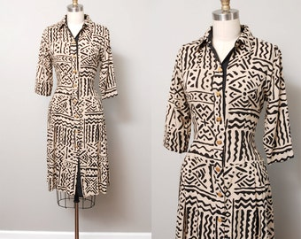 1980s Dress - Abstract Print Tan and Black 80s Shirtwaist Dress