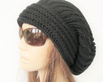 Hand Knit Womens Slouchy  Hat ,  Black Beanie Hat ,  Winter Hat ,  Fashion Fall Winter Fashion  Accessories Handmade hat Women Slouchy hat